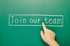 Join our team, words on blackboard Stock Photos
