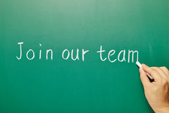 Join our team, words on blackboard Stock Images