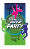 Join this party 2. Backround for dance party poster stock illustration