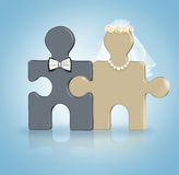 Join puzzle. Wedding concept.  stock illustration