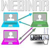 Join to webinar - billboard with netbooks and join button Stock Photography