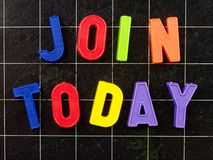 Join Today magnetic letters on blackboard royalty free stock photography