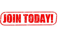 Join today! stamp. Join today! red stamp on white Stock Image