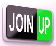 Join Up  Button Shows Joining Membership Register Royalty Free Stock Photo