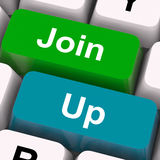 Join Up Keys Show Becoming A Member Or Registering Stock Image