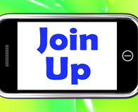Join Up On Phone Shows Joining Membership Register Royalty Free Stock Images