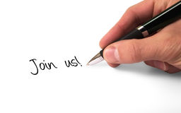 Join us. Fountain pen writing join us royalty free stock image