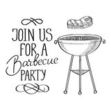 Join us for a barbecue party typography design Stock Image