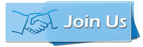 Join Us Blue Squares Symbol Stock Image