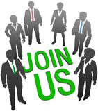 Join Us business company people HR. Recruiting invitation to join company corporation business team vector illustration