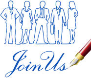 Join Us Business people invitation pen. Recruiting invitation drawing to join company business team royalty free illustration