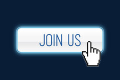 Join us. Button with hand cursor Stock Photo