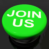 Join Us Button Shows Joining Membership Register Stock Image