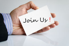 Join Us Concept. Over White Background stock photography