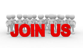 Join us. 3d people - man, person - teamwork. Join us Stock Photo