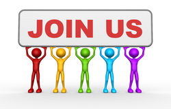 Join us. 3d people - man, person with text JOIN US Stock Photo