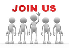 Join us. 3d people - man, person with text JOIN US Stock Images