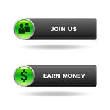 Join us and earn money buttons Royalty Free Stock Images