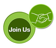 Join Us Green Three Circles Stock Photo