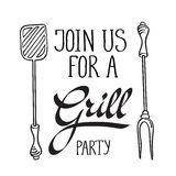 Join us for a grill party typography design Stock Photo
