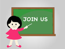 join us message on chalkboard Royalty Free Stock Photos