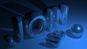JOIN US in metallic blue Stock Photos