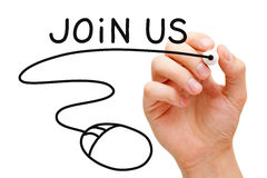 Join Us Mouse Concept. Hand sketching Join Us concept with black marker on transparent wipe board royalty free stock photography