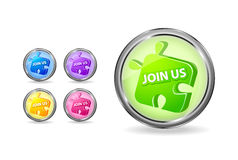 Join us puzzle round icon set Royalty Free Stock Images