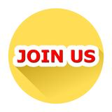 Join Us with shadow. Yellow button, Join Us with shadow Stock Photography
