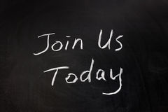 Join us today. Chalk drawing - Join us today Stock Photography