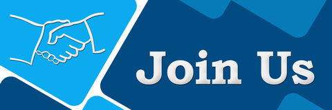 Join Us Two Blue Squares Banner Stock Images