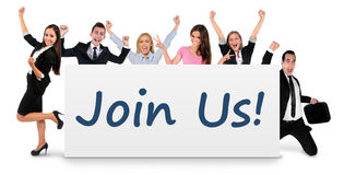 Join us word on banner Royalty Free Stock Images