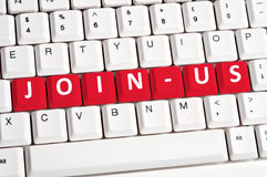 Join-us word on keyboard Royalty Free Stock Images