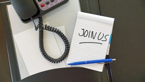 Join us written blocknote Stock Images