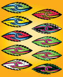 Joined cartoon snake bodies in leaf design stamps. Illustration Royalty Free Stock Photography
