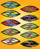 Joined cartoon snake heads design symbol Stock Image