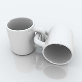 Joined Coffee Mugs. Joined 3d coffee mugs, isolated Stock Photo