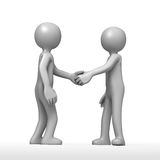 Joined on even terms. 2 3D cartoon figures join hands in mutual agreement Stock Image
