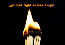 Joined light shines bright Stock Photos