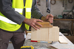 Joiner in his workshop Royalty Free Stock Image