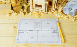 Joiner's works. Drawings for building, small house Royalty Free Stock Image