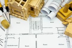Joiner's works. Drawings for building, working Stock Photography