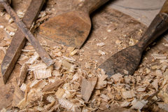 Joiner tools on wood table Royalty Free Stock Photos
