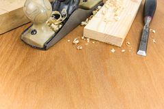 Joiner tools on wood workbench Stock Images