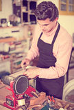 Joiner working on machine Royalty Free Stock Photo