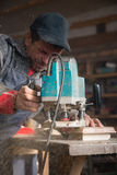 Joiner working of manual milling machine Royalty Free Stock Images