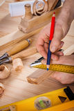 Joiners tools top view construction concept Stock Image