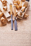 Joiners tools woodworkers plane carpentry chisels Stock Photo