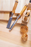 Joinery chisels and woodworkers plane with Royalty Free Stock Photos