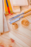 Joinery composition chisels wooden meter pencil on Stock Photo